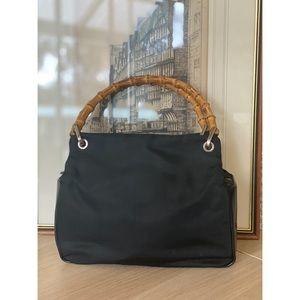 Gucci Handbag with Bamboo Handles. Black Leather & Nylon Canvas